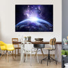 Shining Constellations Of Stars Around The Earth At Night In Space Multi Panel Canvas Wall Art