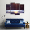 When Planet Revolves And Confronts The Nebula In Space Multi Panel Canvas Wall Art