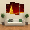 Red Starred Sky On The Christmas Night Multi Panel Canvas Wall Art