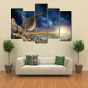 Saturn From The Saturn Moon Multi Panel Canvas Wall Art