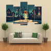 Halloween Illustration With Pumpkin And Haunted House Multi Panel Canvas Wall Art