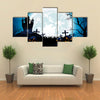 Castle, Pumpkins And Blue Moon At Night Multi Panel Canvas Wall Art