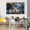A Gloomy Haunted House Under The Full Moon Multi Panel Canvas Wall Art