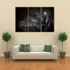Horrible Zombie In A Wrecked House Multi Panel Canvas Wall Art