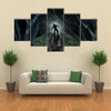 Monster In Creepy Wilderness With The Moon Glow Behind Multi Panel Canvas Wall Art