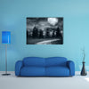 Empty Roads Leads You Nowhere # An Empty Rural Road Under The Full Moon Light Multi Panel Canvas Wall Art Print Set