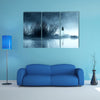 Mysterious Woman In The Mist Near The Water Body At Night Multi Panel Canvas Wall Art