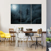 Mysterious Medieval Castle In Moonlight Multi Panel Canvas Wall Art