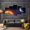 When Earth, Moon And Sun Gets Aligned Multi Panel Canvas Wall Art