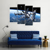 3D Outlook Of Modern Space Shuttle And Space Station Working In The Outer Space Multi Panel Canvas Wall Art