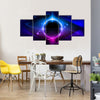 The Ravishing Blue Nebula In The Space Multi Panel Canvas Wall Art