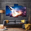 A Space Shuttle On A Mission To Exotic Planet Multi Panel Canvas Wall Art