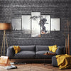 Spaceman Wandering On The Flying Board Multi Panel Canvas Wall Art