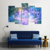 Spirals In Galaxy With Shining Stars And Meteors Multi Panel Canvas Wall Art