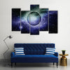 Nebula, Planet And Star Dust All Makes Up The Galaxy Multi Panel Canvas Wall Art