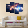Scene Of Universe With Galaxy And Blazing Meteor Multi Panel Canvas Wall Art
