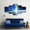 Planets, Stars And Galaxies All Lined Up In The Space Multi Panel Canvas Wall Art