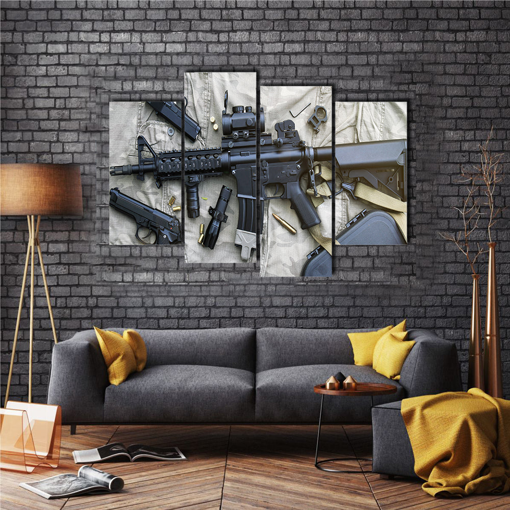 Weapons And Military Equipment Multi Panel Canvas Wall Art Set