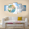 Earth From The Outer Space Multi Panel Canvas Wall Art