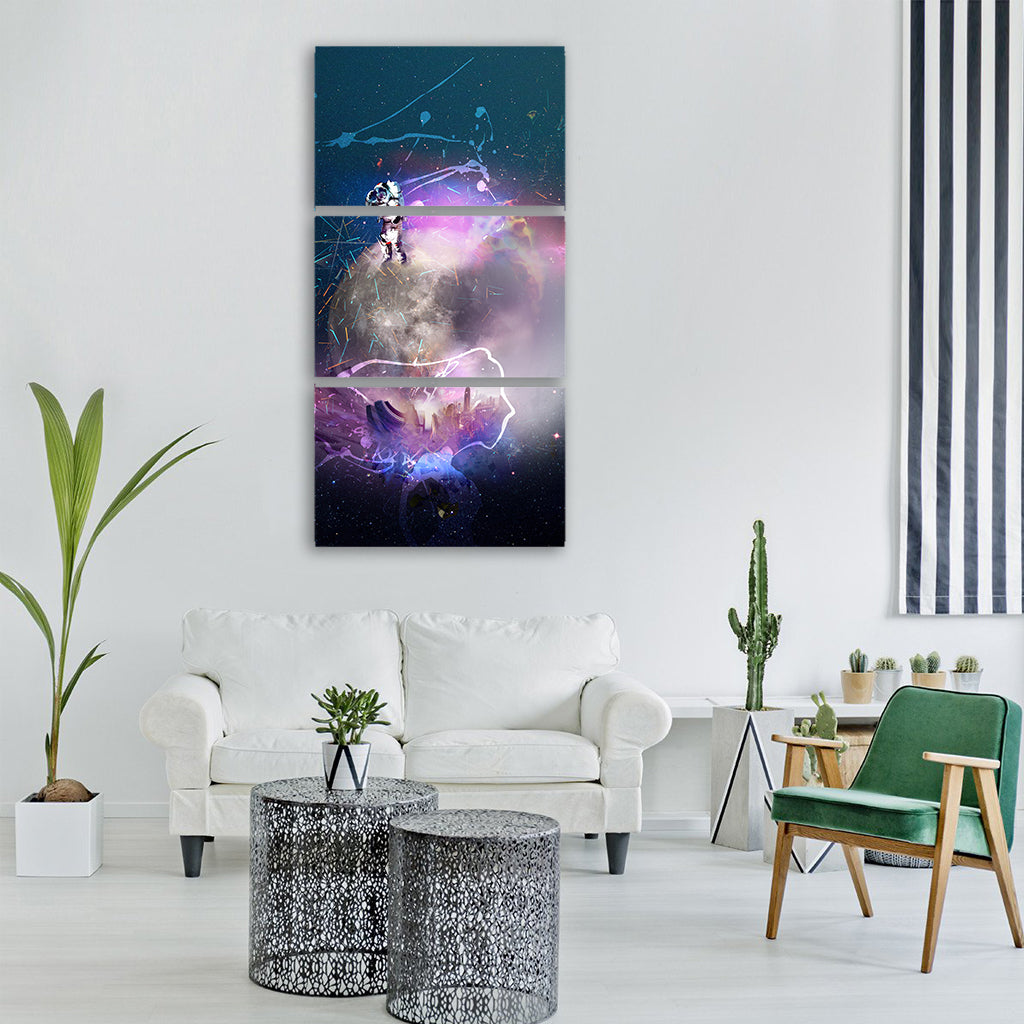art galaxy crime glow light Vertical Canvas Wall Art