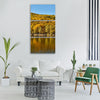 autumn trees lake autumn flowers Vertical Canvas Wall Art