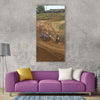 Bike action-motion helmet racing Vertical Canvas Wall Art