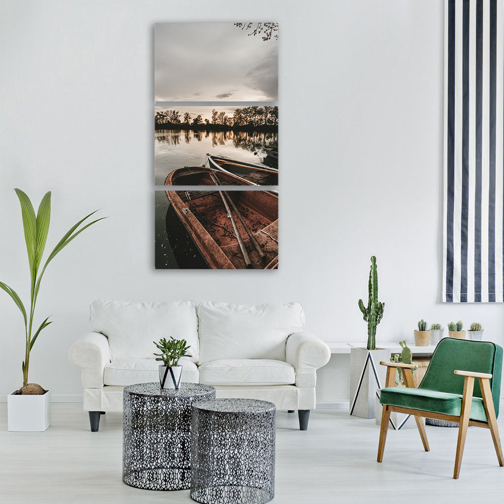 boat lake fishing boat fishing Vertical Canvas Wall Art