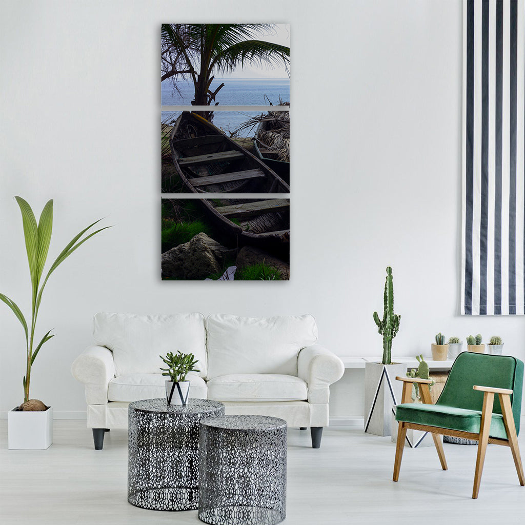 canoe water sea caribbean Vertical Canvas Wall Art