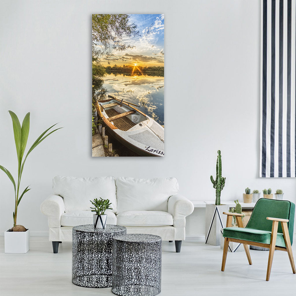 Fishing boat boat lake sunset Vertical Canvas Wall Art