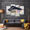 Epic Handgun With Bullets And Army Badge Multi Panel Canvas Wall Art Set