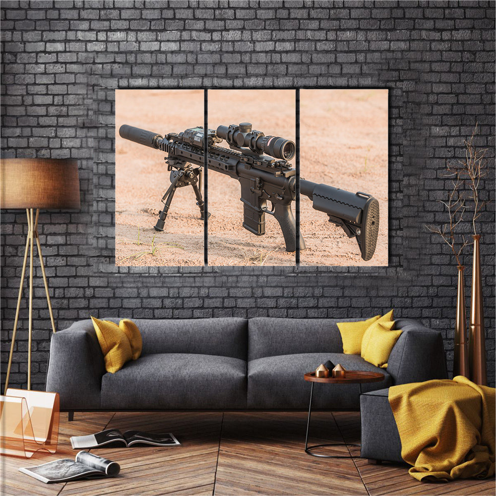 A black Mid Length Rifle Multi Panel Canvas Wall Art Set