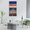 pier jetty ocean water beach sky Vertical Canvas Wall Art