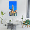 Piran tower space houses sky Vertical Canvas Wall Art