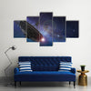 A Satellite Dish Under The Sky Full Of Tiny Stars Multi Panel Canvas Wall Art