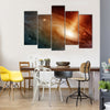 Spiral Galaxy System In The Presence Of Glittery Stars Multi Panel Canvas Wall Art