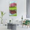 spring pink flowers pink tree Vertical Canvas Wall Art