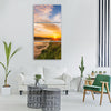 sunrise river sky landscape water Vertical Canvas Wall Art