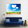 Green Grass Along The Wooden Plank Under The Blue Sky With Hearty Clouds Multi Panel Canvas Wall Art