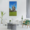 windmill blue sky summer green Vertical Canvas Wall Art