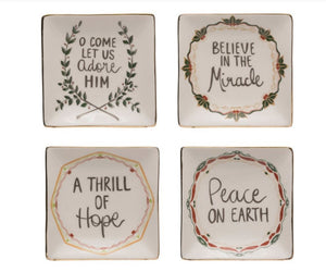 "5"" Square Stoneware Plate with Holiday Sayings"