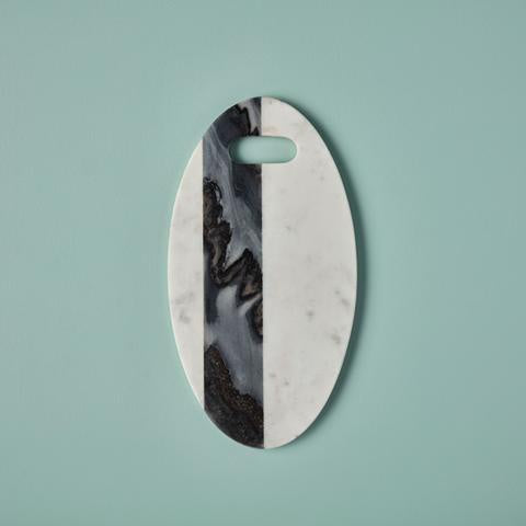 White/Gray Marble Oval Board