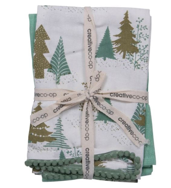Set of 3 Green Holiday Towels