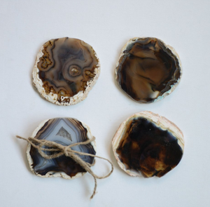 "4"" Round Agate Coaster, Set of 4"