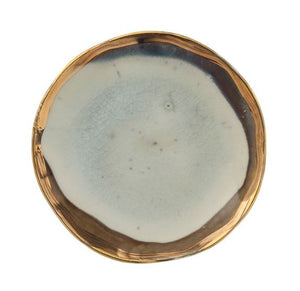 Round Reactive Glaze Plate with Gold Rim