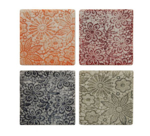 Ceramic Coasters with Embossed Floral Patterns