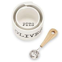 Olive and Pit Cup w/ Wooden Spoon