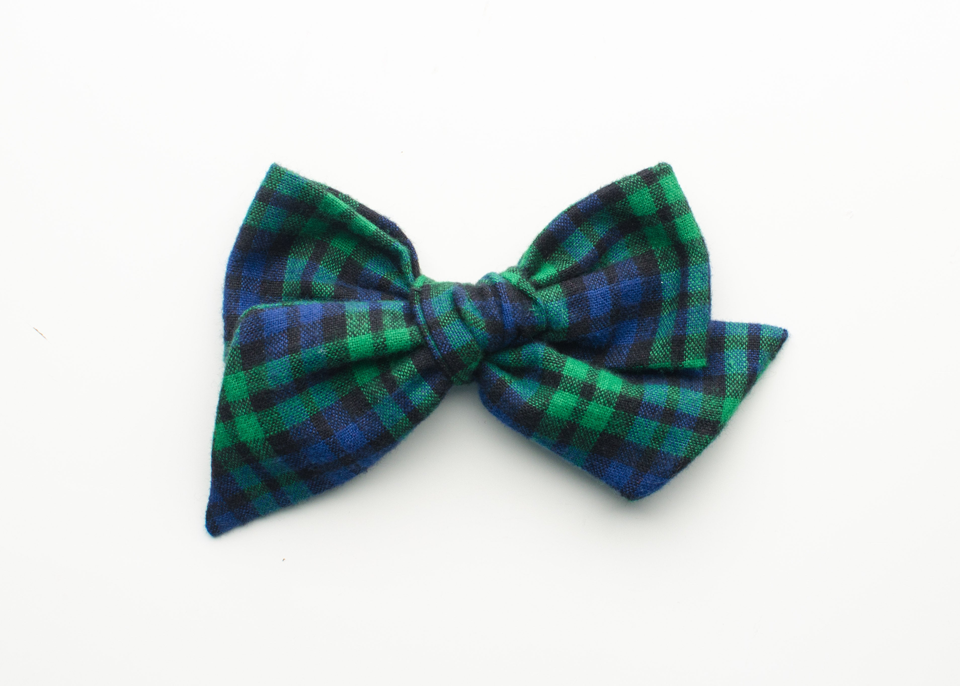 Holiday Collection Emery Fabric Hair Bow in Blue/Green Flannel