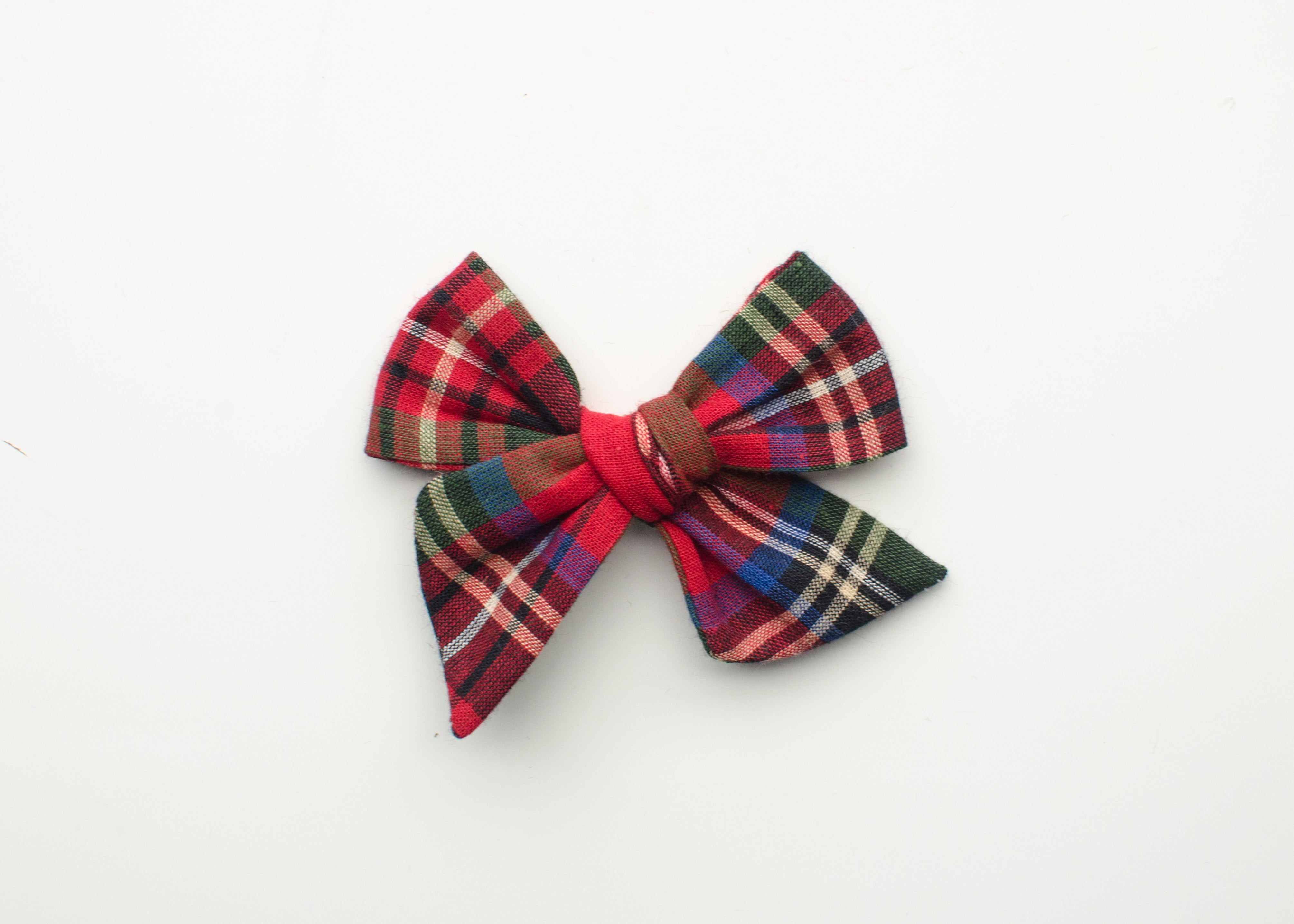 Holiday Collection Emma Fabric Hair Bow in Red & Blue Plaid