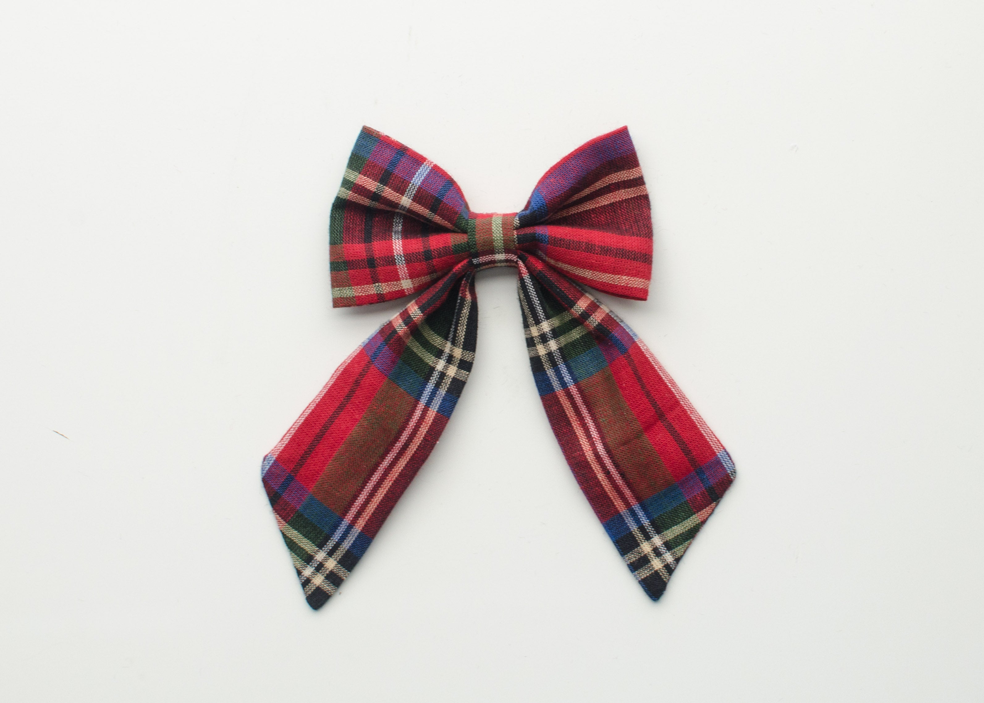 Holiday Collection Everly Hair Bow Red & Blue Plaid