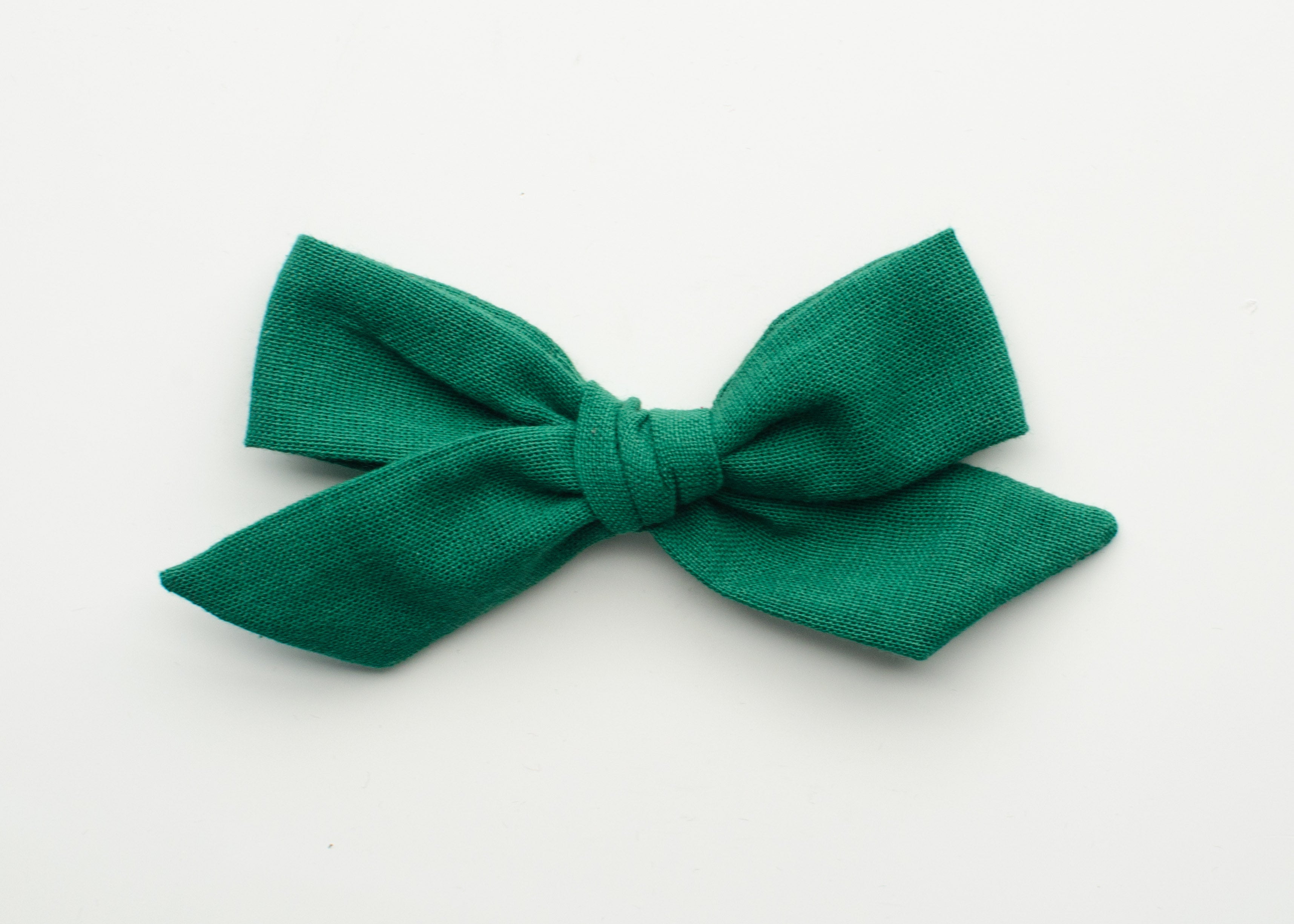 Holiday Eleanor Fabric Hair Bow in Green Linen